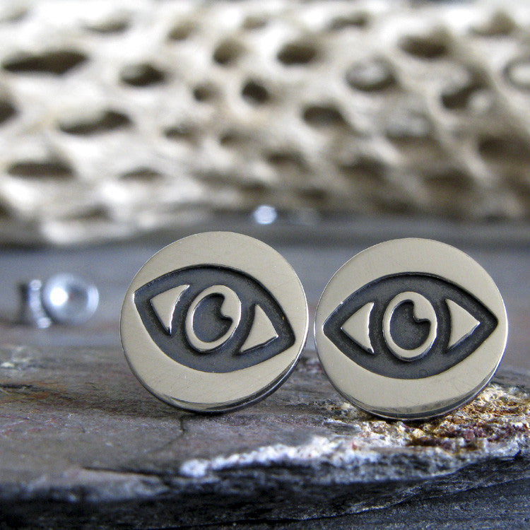 Evil Eye post earrings handcrafted in sterling silver