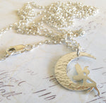 Fairy sitting in crescent moon pendant necklace handmade in sterling silver or 14k gold