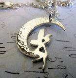Forest Nymph Fairy necklace in crescent moon handmde in sterling silver