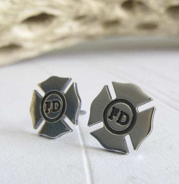 Fireman jewelry. Sterling silver badge studs for firefighters.