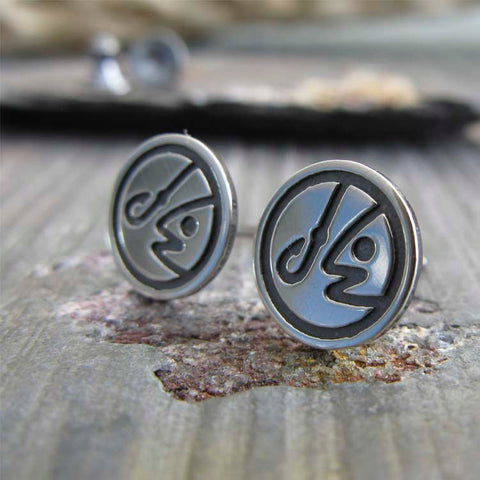 Womens fishing sterling silver stud earrings
