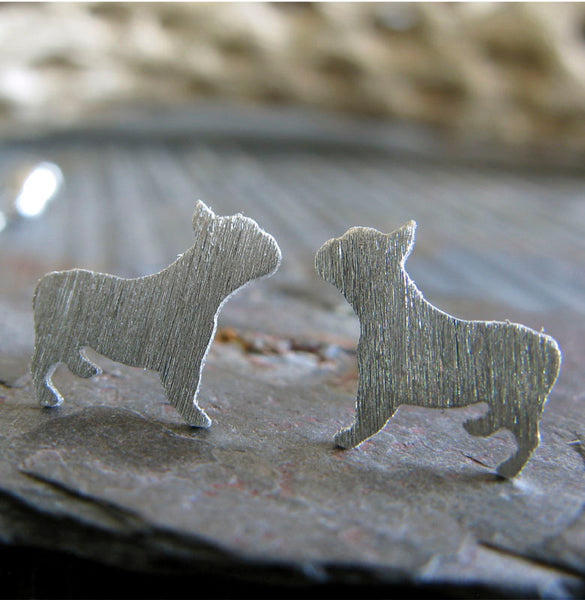 French Bulldog Frenchie dog tiny stud earrings handmade in sterling silver or 14k gold