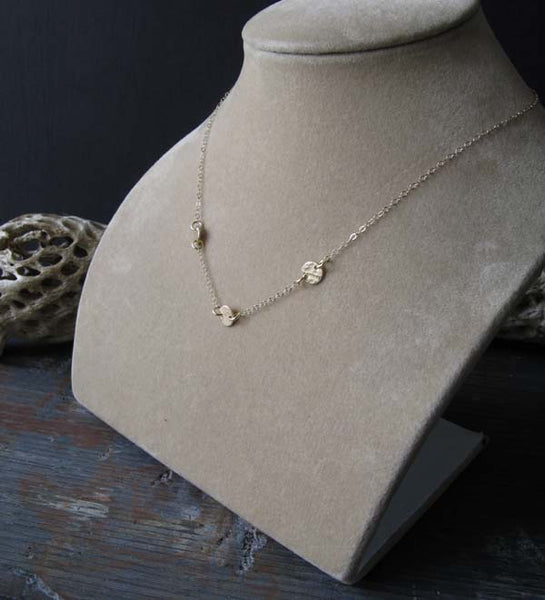 Minimalist Dainty disc necklace handmade in sterling silver or 14k gold