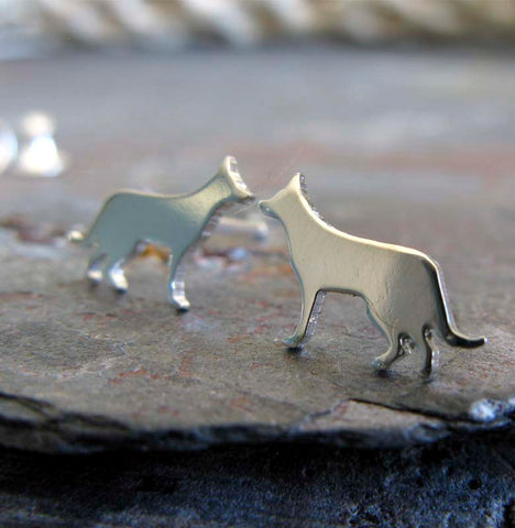 German Shepherd tiny dog stud earrings handmade in sterling silver and 14k gold