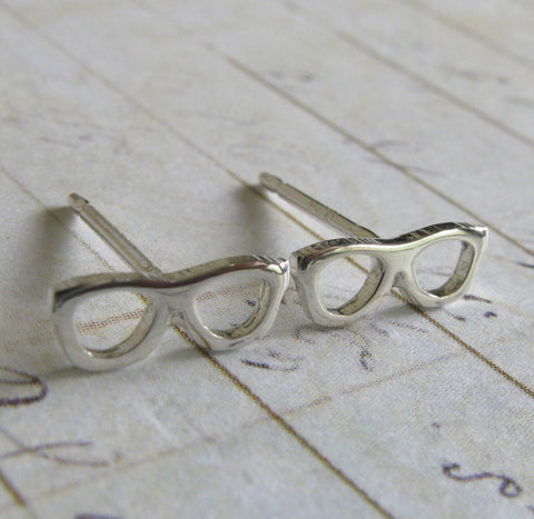 Tiny Glasses Stud Earrings Handcrafted from Sterling Silver or 14k Gold
