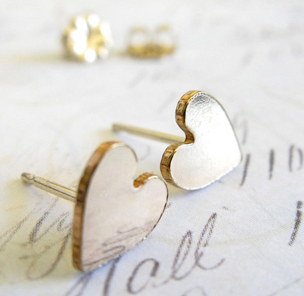 Heart Stud Gold Earrings ~ Large