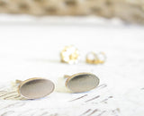 Gold Minimalist Oval Smooth Stud Earrings