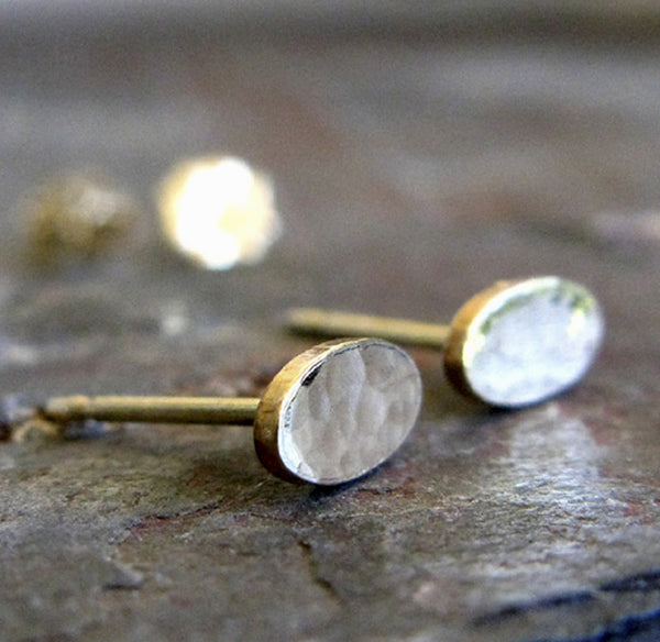 Gold Minimalist Oval Hammered Stud Earrings