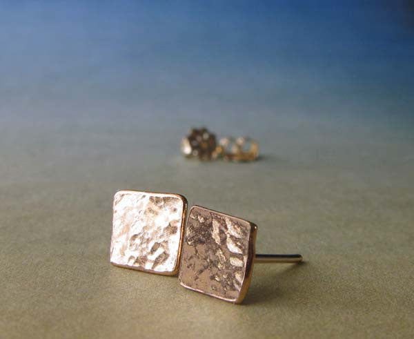 Square Gold Post Earrings. Hammered texture studs.
