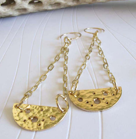 Long Gold Half Circle Dangle Earrings