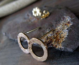 Gold Hammered Ring Donut Stud Earrings