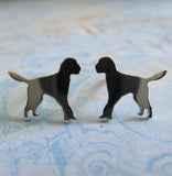 Goldendoodle tiny dog stud earrings handmade in sterling silver or 14k gold