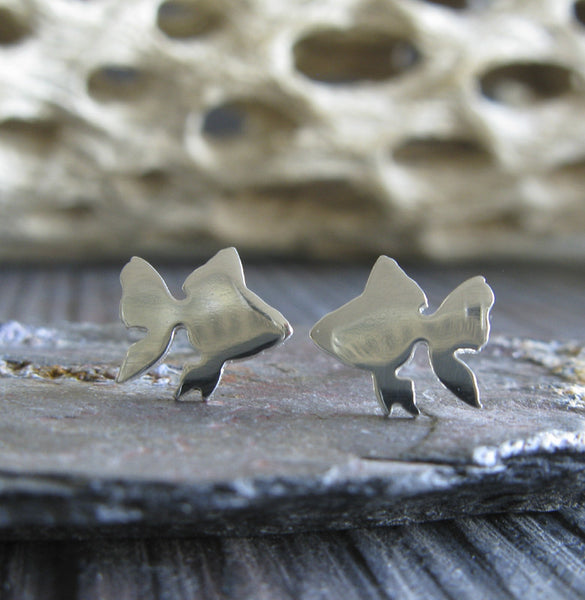 Goldfish studs earrings.  Handmade sterling silver and 14k gold jewelry.