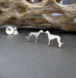 Greyhound dog stud earrings handmade in sterling silver or 14k gold