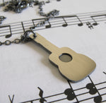 Dainty Guitar pendant necklace handmade in sterling silver