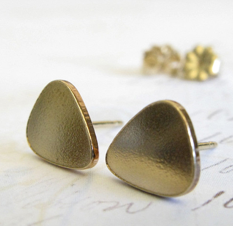 Guitar Pick Tear Drop Stud Earrings Large