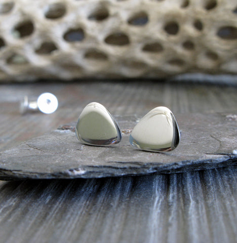 Small guitar pick stud earrings handmade in sterling silver or 14k gold