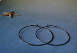 Gunmetal Sterling Silver Endless Hoops Medium