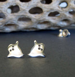 Halloween ghost stud earrings cute sterling silver handmade jewelry