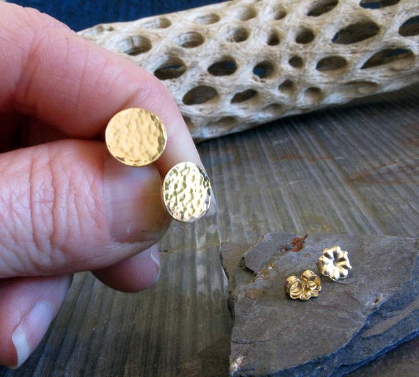 Large Hammered Gold Post Earrings