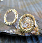 Hammered Ring Stud Earrings