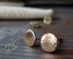 Solid 14k Yellow Gold Hammered Circle Earrings