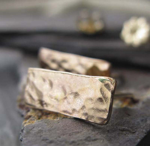 Hammered Rectangle Gold Stud Earrings