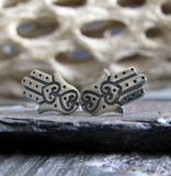 Hamsa tiny stud earrings good luck talisman sterling silver jewelry