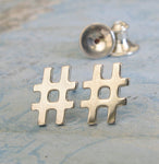 Hash Tag Stud Earrings