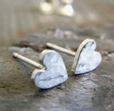 Heart Stud Earrings Hammered Sterling Silver Small