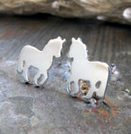 Horse My Little Pony stud earrings handmade in sterling silver or 14k gold