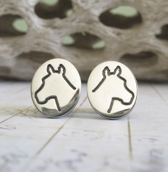Horse Head silhouette stud earrings in sterling silver
