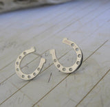 Horseshoe Stud Earrings in Sterling Silver or 14k Gold