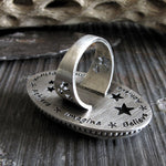 Backside of Sterling Silver Ring With Stars on Stone Grey