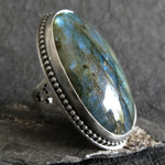 Oval Labradorite Gemstone Ring on black