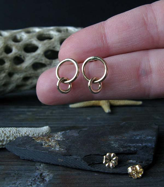 Interlocking Rings Dangle Stud Earrings