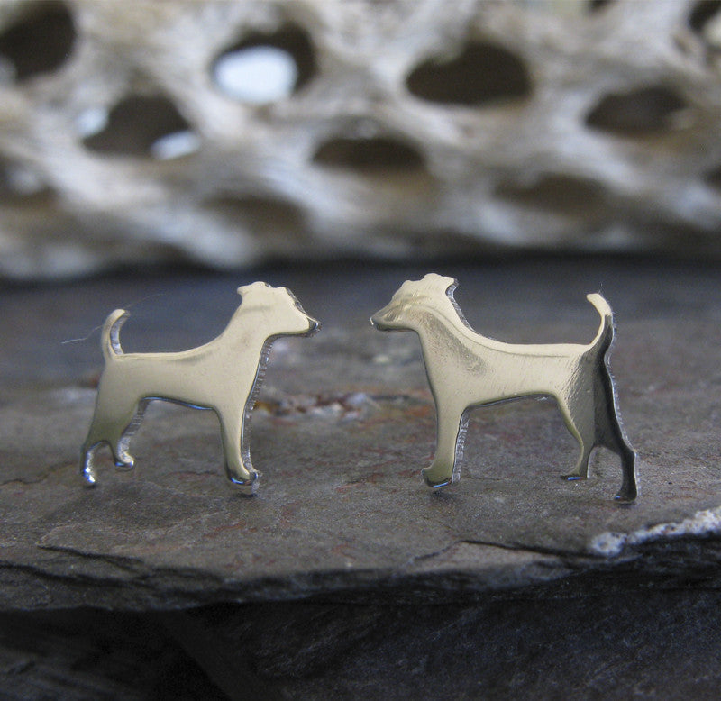 Jack Russell Terrier stud earrings in sterling silver dog silhouette jewelry