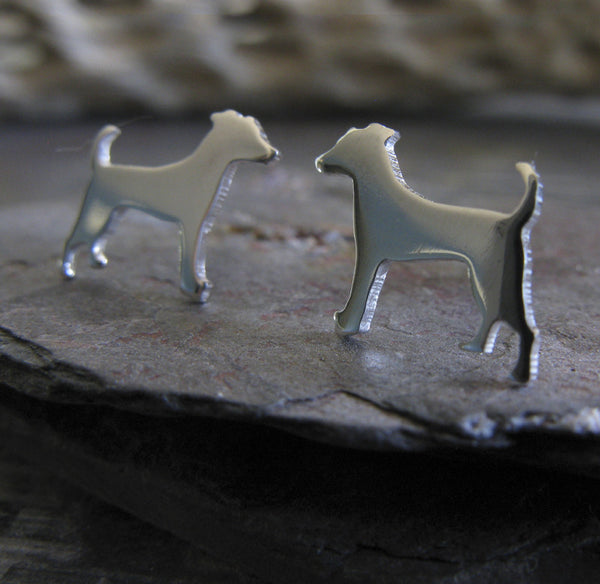 Jack Russell Terrier stud earrings in sterling silver dog silhouette jewelry 2