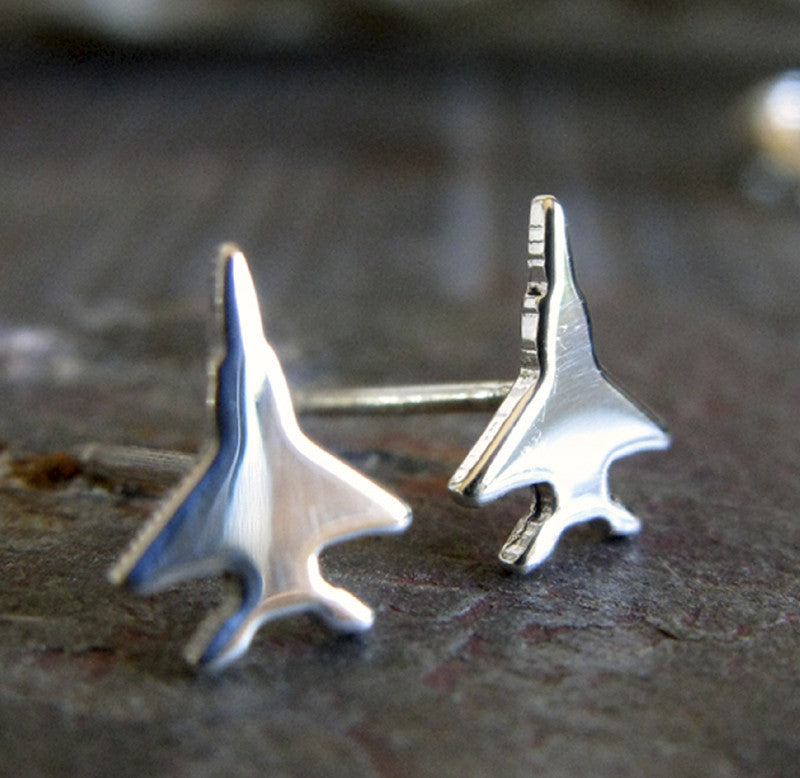 Jet Fighter Military Sterling Silver Stud Earrings