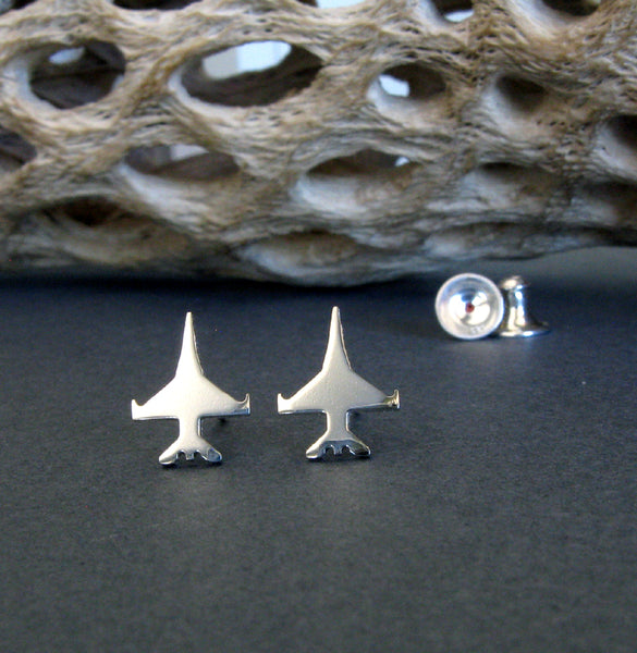 Jet Fighter F-16 Viper Military Aircraft Stud Earrings