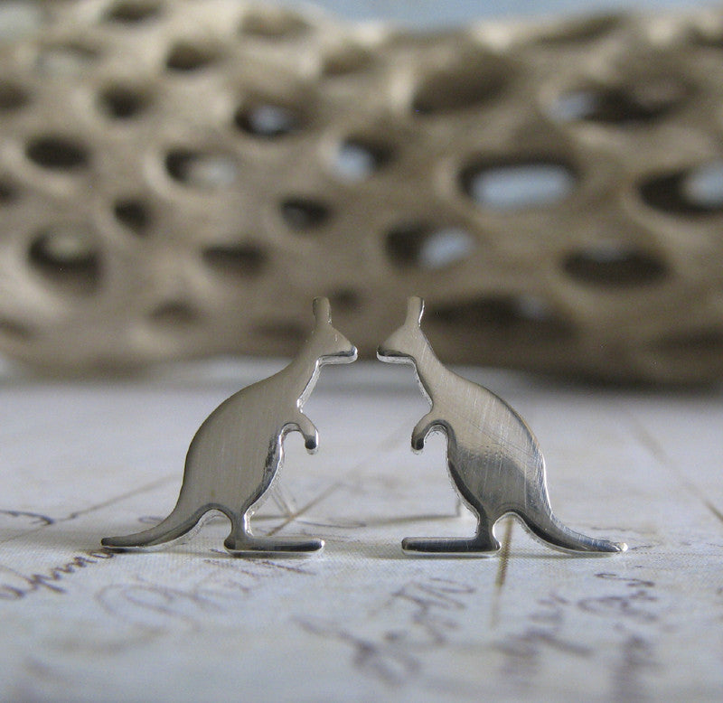 Kangaroo Earrings. Australia jewelry in sterling silver or 14k gold