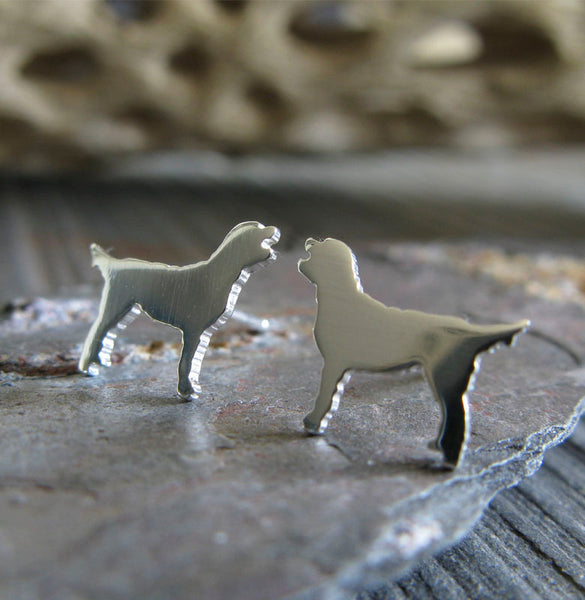Labradoodle tiny dog stud earrings handmade in sterling silver or 14k gold