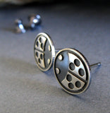 Ladybug beetle insect stud earrings handmade from sterling silver