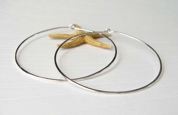 Large 2.5 Inch Handmade Hoop Earrings Sterling Silver