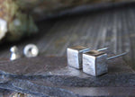 Solid Sterling Silver Brushed Cube Earrings