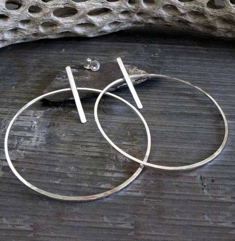 Large hoop and bar post stud earrings. 70's style sterling silver jewelry.