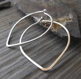 Leaf Tear Drop Handmade Hoop Earrings Sterling Silver
