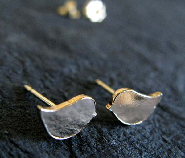 Little Bird Gold Stud Hammered Earrings