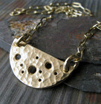 Long boho inspired half moon necklace in sterling silver or 14k gold filled