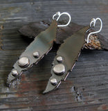 Long feather copper and sterling silver handmade earrings